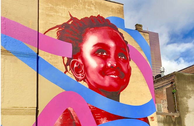The Best Portland Wall Murals & Street Art featured by top US family travel blog, More Than Main Street.: Portland Wall Mural outside of Mother's Bistro & Bar
