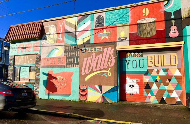 The Best Portland Wall Murals & Street Art featured by top US family travel blog, More Than Main Street.: Wall Mural across from Pine State Biscuits Portland Oregon