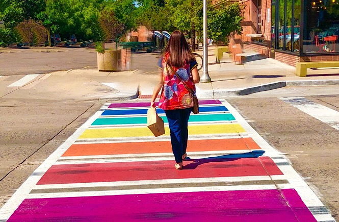 Everyday Adventure Ideas featured by top US family travel blog, More Than Main Street\: Rainbow crosswalk Denver Colorado