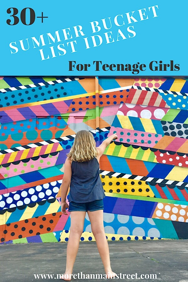 A Complete summer bucket list for teens featured by top US family travel blog, More Than Main Street: image of Colorful wall mural in Nashville Tennessee with young girl.