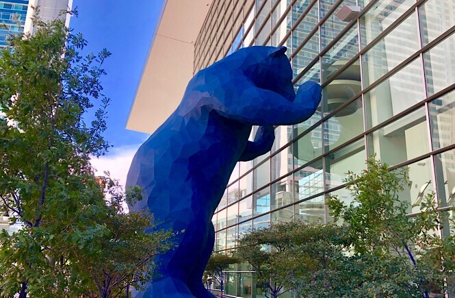 The Ultimate Denver Itinerary featured by top US family travel blog, More Than Main Street: big blue bear Denver convention center