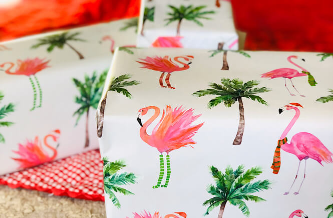 What To Get Someone Who Has Everything: 50+ Of The Best Experience Gift Ideas Ever as featured by top US life and style blog, More Than Main Street; flamingo wrapping paper