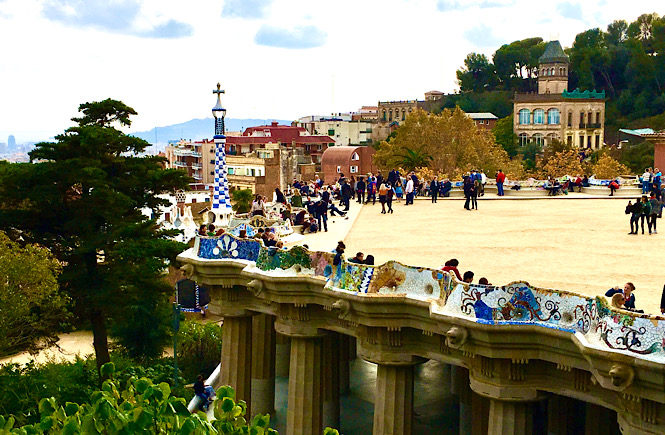 Best tips for international travel with children featured by top US family travel blog, More than Main Street: Parc Guell in Barcelona.