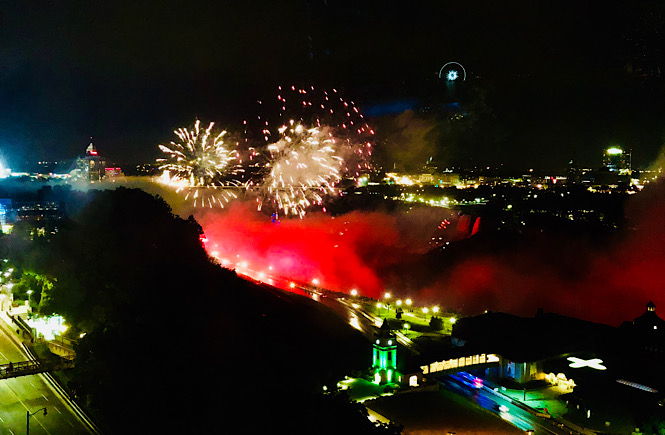 Boston to Niagara Falls road trip itinerary featured by top US family travel blog, More than Main Street: image of Niagara Falls fireworks.