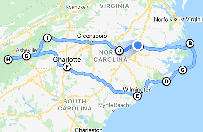 Map of the ultimate North Carolina road trip itinerary showcasing the top 10 best cities to visit featured by top US travel blog, More than Main Street.