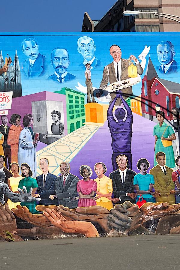 Must See Durham NC Wall Murals & Street Art featured by local NC travel blog, More than Main Street- Durham Civil Rights Mural.