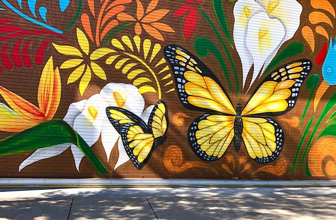 Must See Durham NC Wall Murals & Street Art featured by local NC travel blog, than Main Street- Butterfly wall mural.