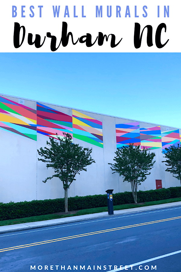 Must See Durham NC Wall Murals & Street Art featured by local NC travel blog, More than Main Street- colorful mural on the Durham YMCA building called Time Bridge.