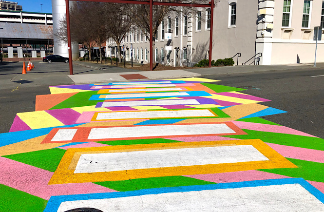 Must See Durham NC Wall Murals & Street Art featured by local NC travel blog, More than Main Street- colorful crosswalk!