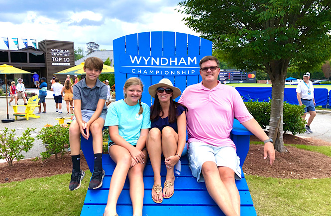 Family day trip to the Wyndham Golf Tournament in Greensboro NC.