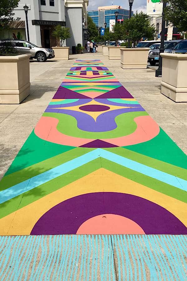 Amazing sidewalk art (street art) at North Hills shopping center in Raleigh, NC featured by top NC travel blog, More than Main Street.