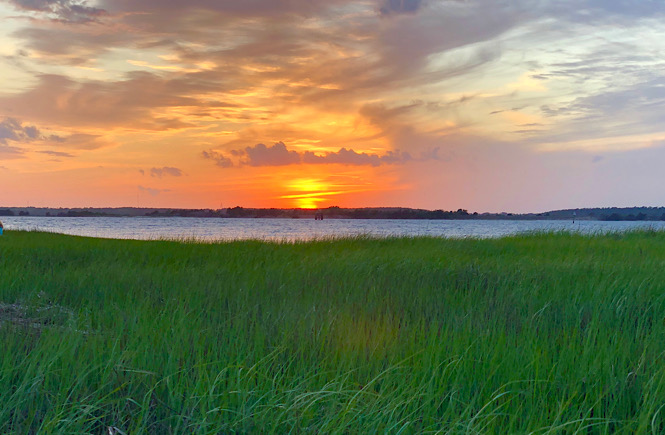 Sunset at Fort Fisher Historic Site in Kure Beach NC.