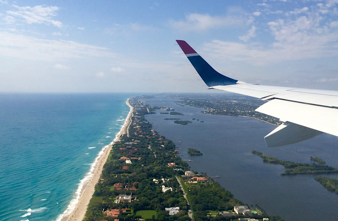 Airplane view of West Palm Beach Florida, one of the best kid friendly beaches on the east coast featured by top US travel blog, More than Main Street.