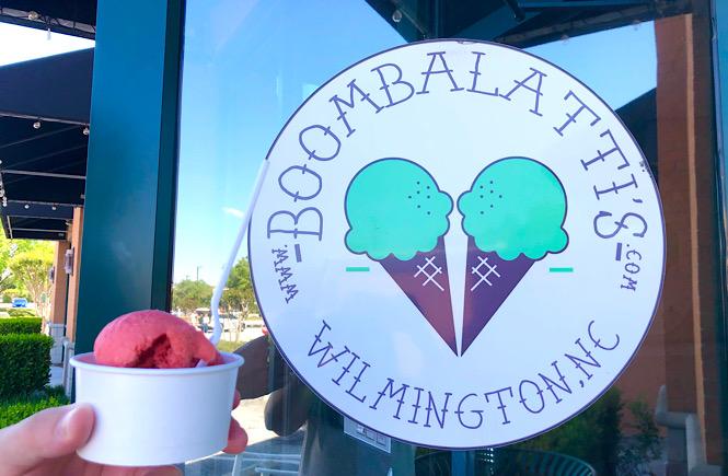 Homemade ice cream from Boombalatti's in Wilmington NC