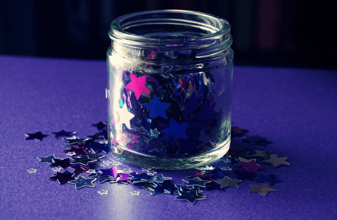 Mindful jar- glitter and water. Image from Canva.