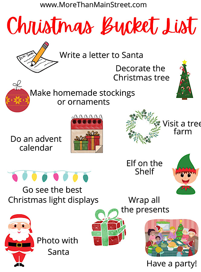 Christmas Bucket List printable featured by top US family travel blog, More than Main Street.