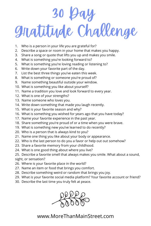 30 Day Gratitude Challenge journaling prompts.