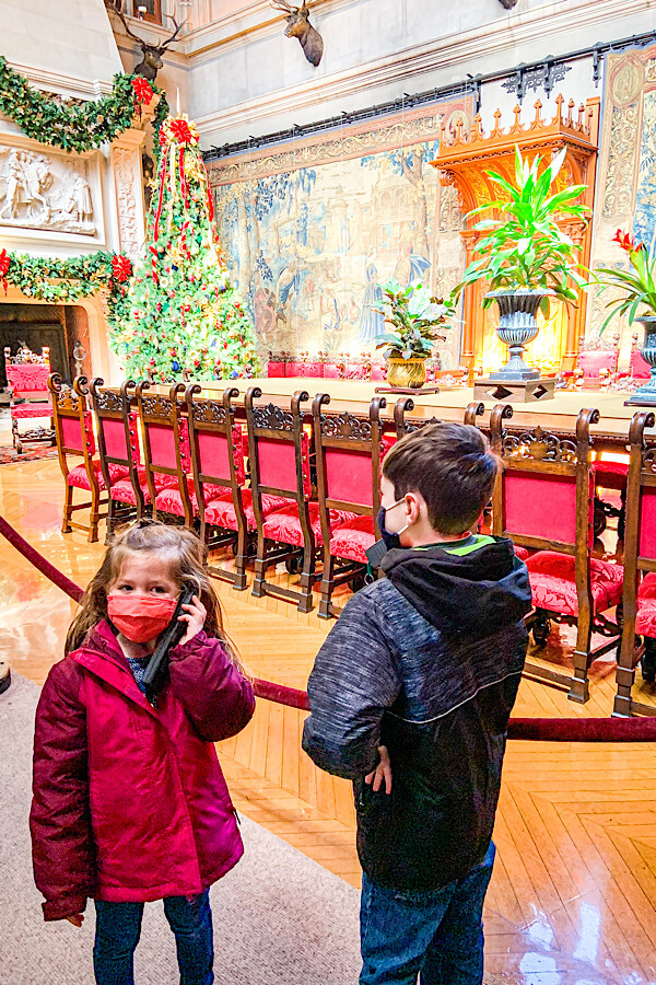 Kids listening to the audio tour at the Biltmore Estate in Asheville, NC.