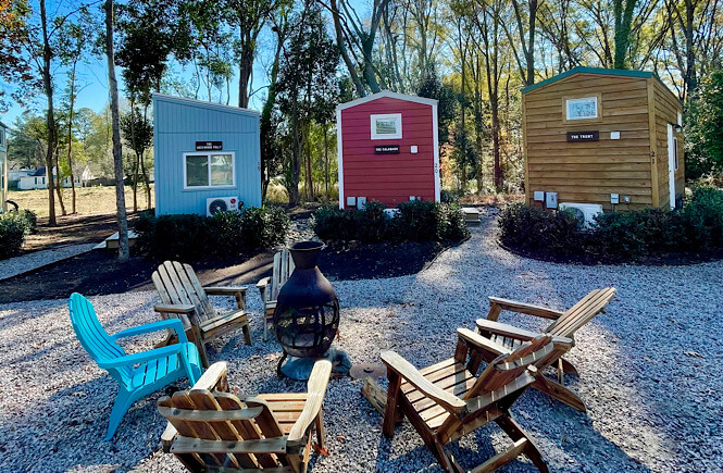 Tiny House hotel community River &Twine at the Rocky Mount Mills.