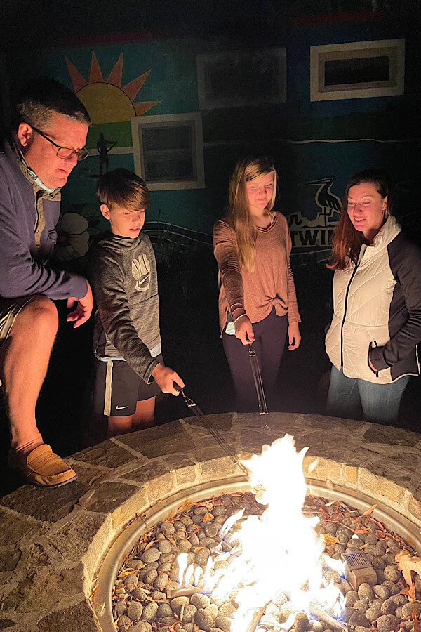 S'mores by the firepit was fun for the whole family at Rocky Mount Mills' River and Twine.