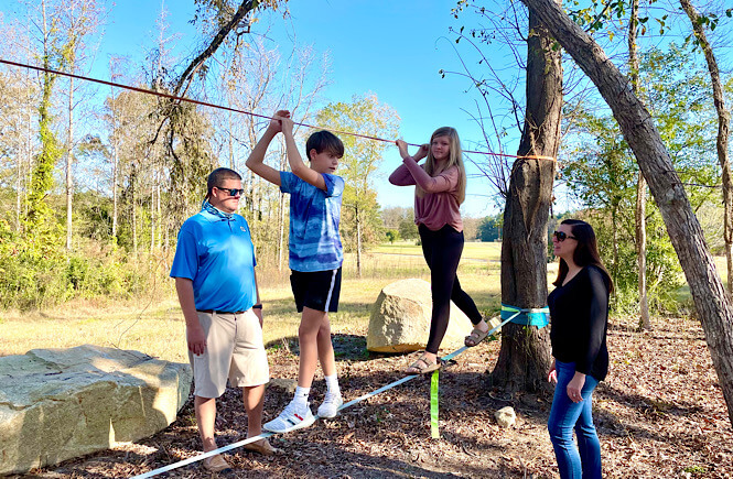 The slack line at River and Twine in Rocky Mount NC was fun for the whole family.