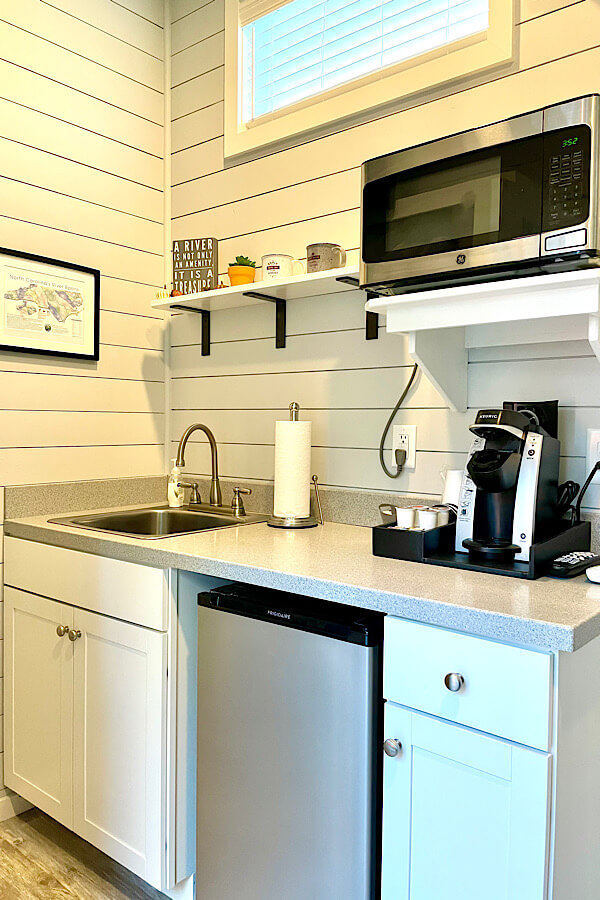 Kitchenette at River & Twine tiny house hotel in Rocky Mount NC.