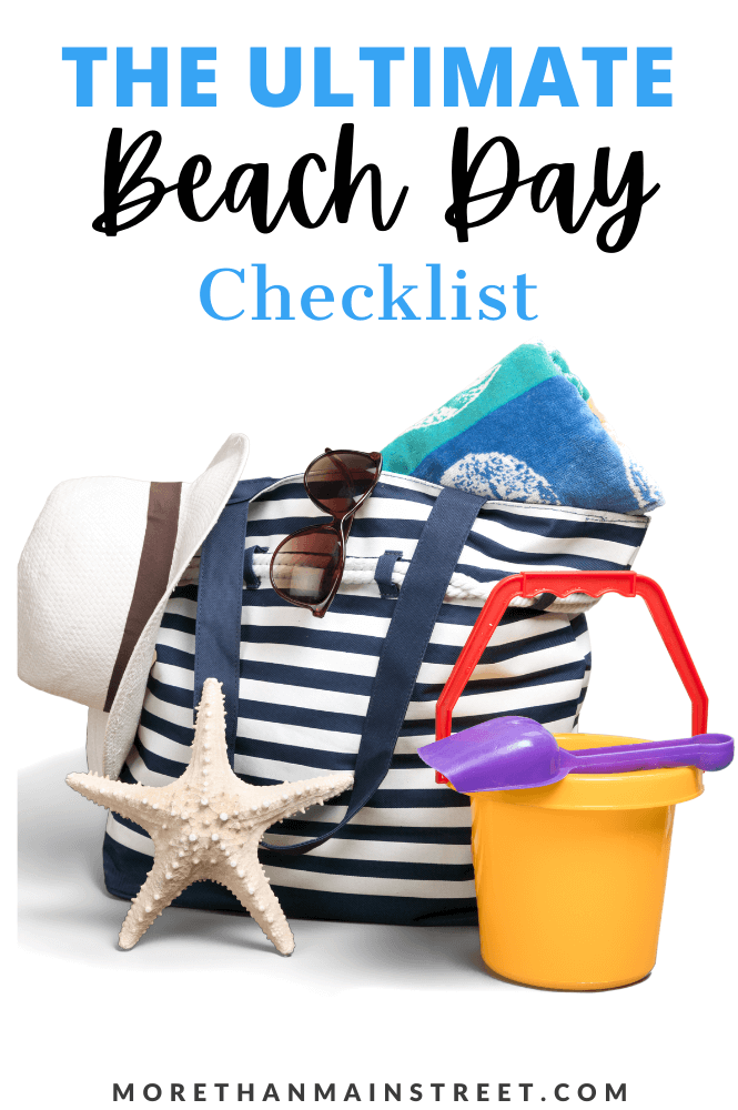 The Ultimate Beach Day Packing list- everything from your beach bag to sunglasses to toys featured by top US family travel blog, More than Main Street.