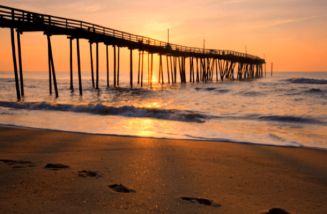 Sunrise over the pier at the Outer Banks NC.