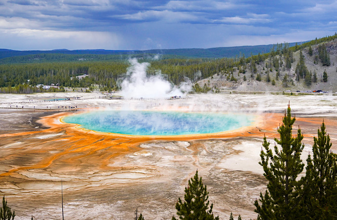 The extremely colorful Grand Prismatic Spring in Yellowstone National Park.