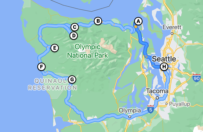 Map of Olympic peninsula loop and road trip itinerary.