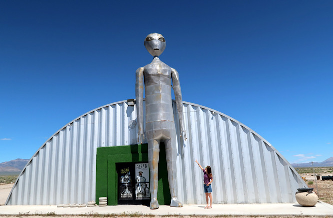 Road tripping on the Extraterrestrial Highway in Nevada- a fun alien road side attraction.