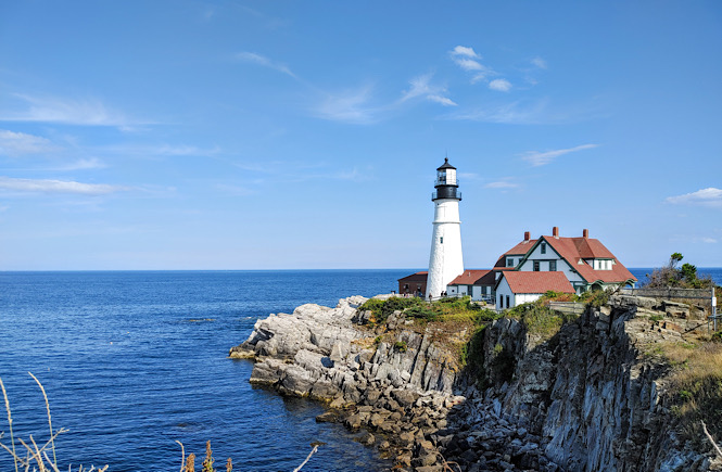 The gorgeous lighthouse on the rocky coast of Maine is a must see when visiting Maine.