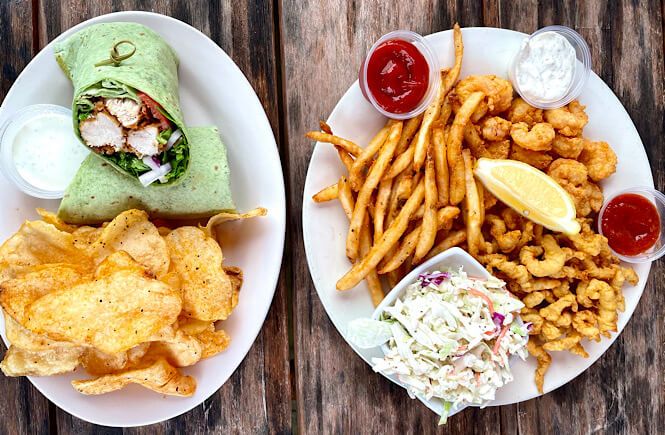 Fried seafood and a chicken wrap with homemade chips is our go to order at Fishbites Restaurant in Wilmington NC.