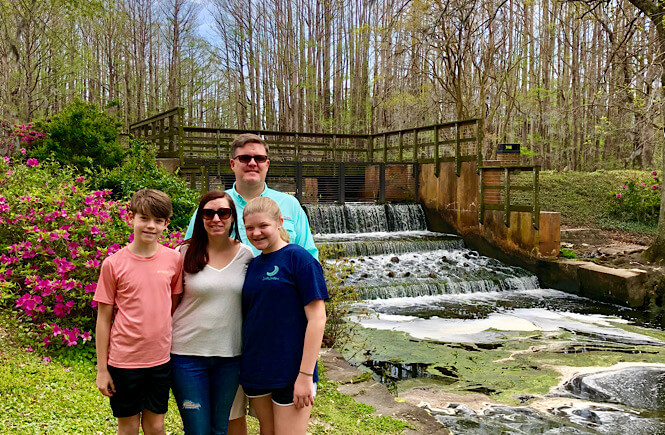 Family enjoying the day at Greenfield Lake Park in Wilmington NC.