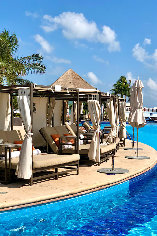 Poolside Cabanas in the Sunrise section of the Moon Palace resort in Cancun Mexico.