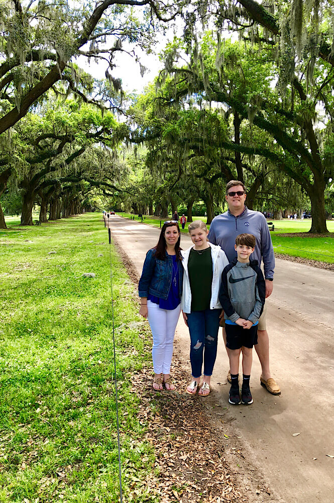 Family at Boone Hall Plantation in Charleston South Carolina featured by top USA family travel blog, More than Main Street.