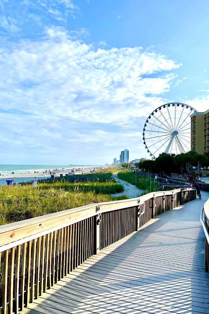 Myrtle Beach boardwalk and ferris wheel.
