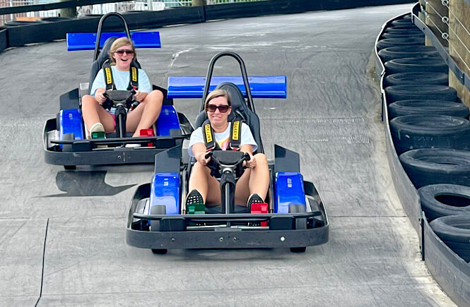 Mom and daughter in go karts in Myrtle Beach SC!