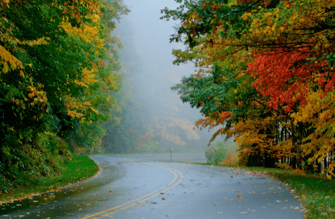 The Blue Ridge Parkway is the perfect fall foliage road trip through the south- photo from Canva.