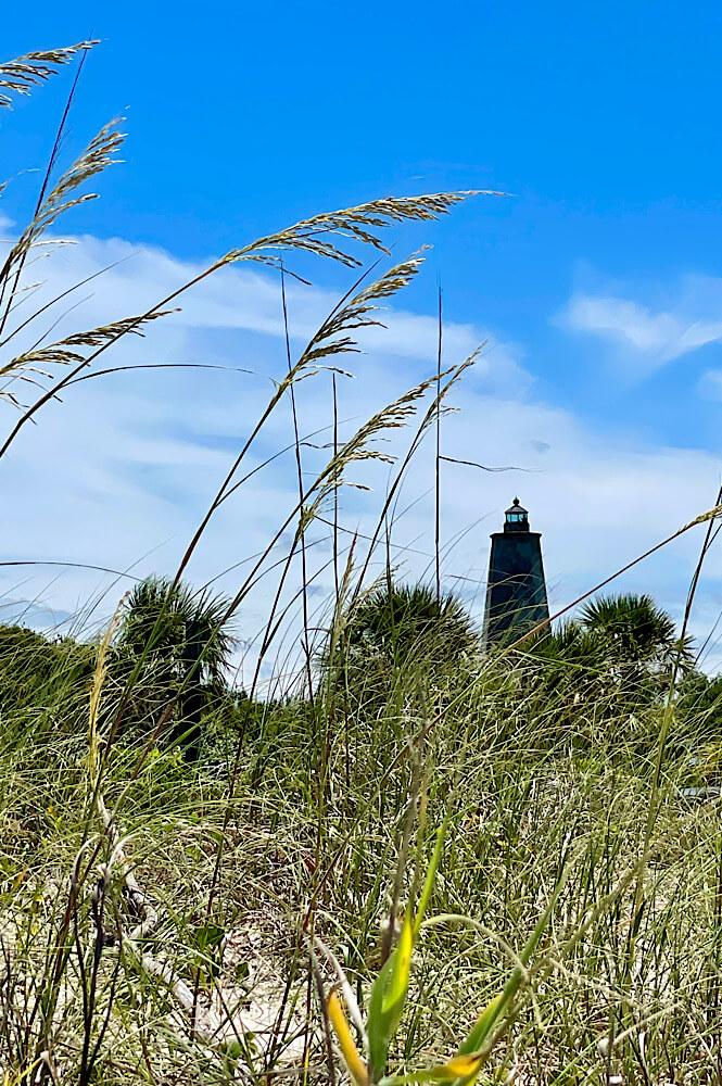 Lighthouse through the seagrass on Bald Head Island NC.